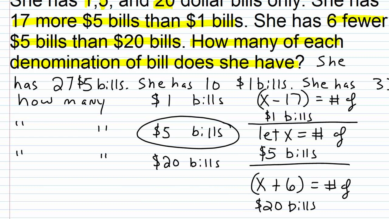 Algebra 1 Help Solving Money Word Problems