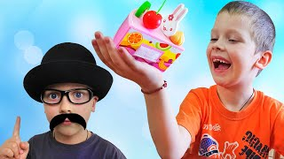 Roma and Daddy playing with toy food under song Johny Johny Yes Papa by iFinger