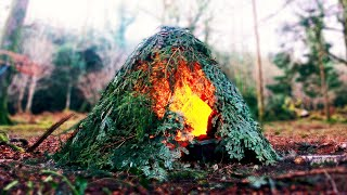 Building & Overnight in my Ultimate Bushcraft Shelter ~ FIREPIT Inside