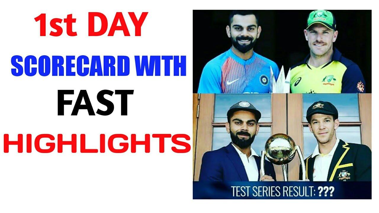 India Vs Australia 1st Test 1st Day Scorecard Australia Vs India