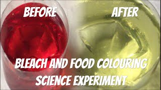 Bleach and food colouring science experiment