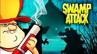 ВЕСЕЛЬЕ НА БОЛОТЕ в Мультяшной игре для детей Swamp Attack  БОЛОТНАЯ АТАКА