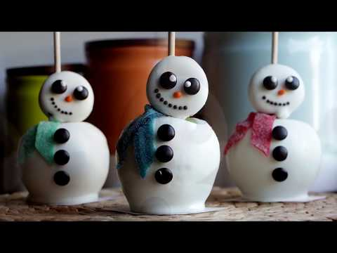 How to Make White Chocolate Snowman Apples | Become a Baking Rockstar