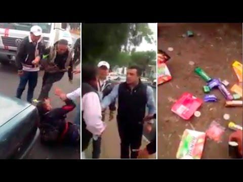 Funcionario del PRI golpea a anciano que vende paletas y patea a joven que lo defendía en Toluca