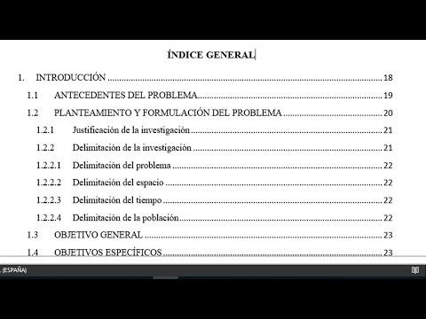 CREAR UN INDICE O TABLA DE CONTENIDO AUTOMATICA EN MICROSOFT WORD IDEAL PARA TESIS