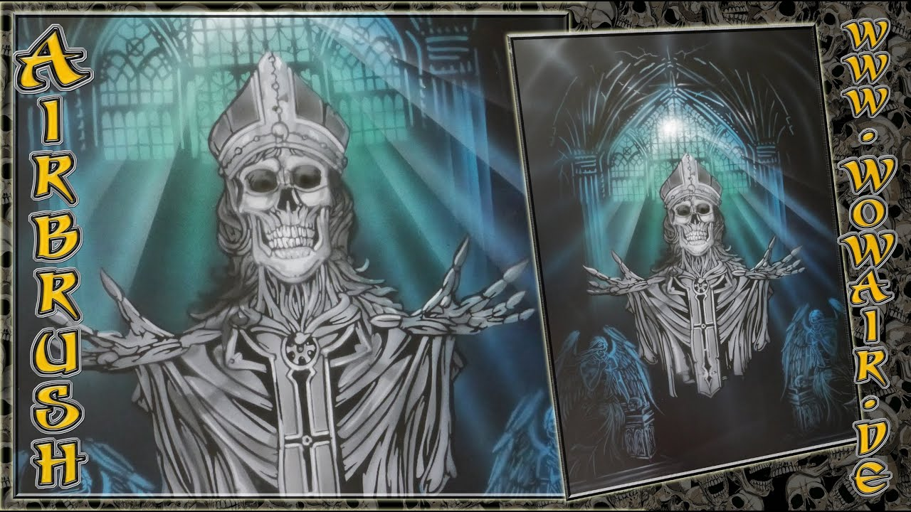 Airbrush By Wow No 442 Quot Skull Priest Quot Hd Youtube