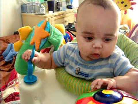 4 Month Old Baby Boy On His Graco Baby Einstein Exersaucer Youtube