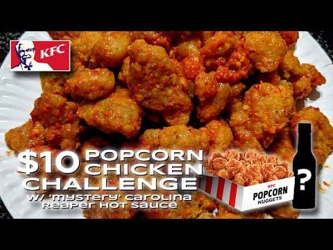 $10 KFC POPCORN CHICKEN CHALLENGE W/ 'Mystery' Carolina Reaper Hot Sauce