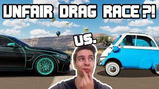 vuclip UNFAIR DRAG RACE?! 🚗 BMW-Edition: Tuned '57 Isetta vs. M4 GTS | Forza Horizon 3 [4K]