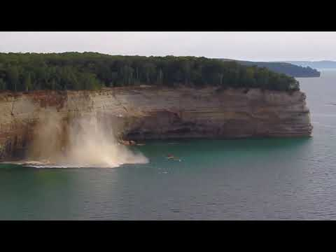 Muss - Drone Catches Lake Superior Cliff Collapsing Near Kayakers (VIDEO)
