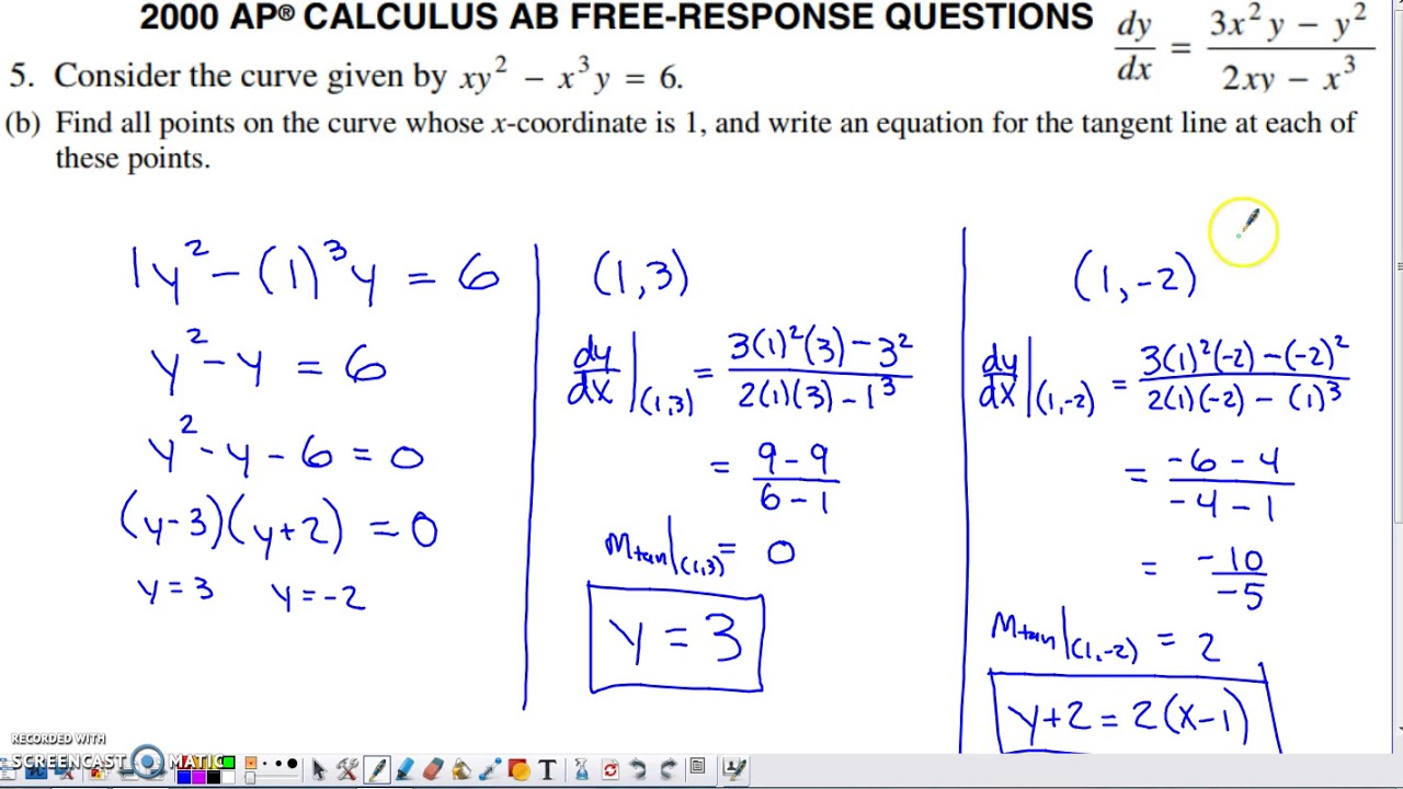2000 Ap Calculus Ab Free Response Question 5 Youtube
