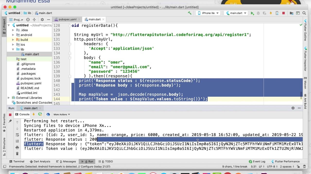 10 Flutter Register http response API Database