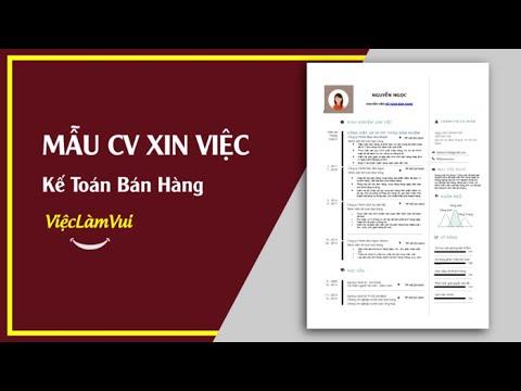 Mẫu CV xin việc kế toán bán hàng – 1001 mẫu CV ViecLamVui