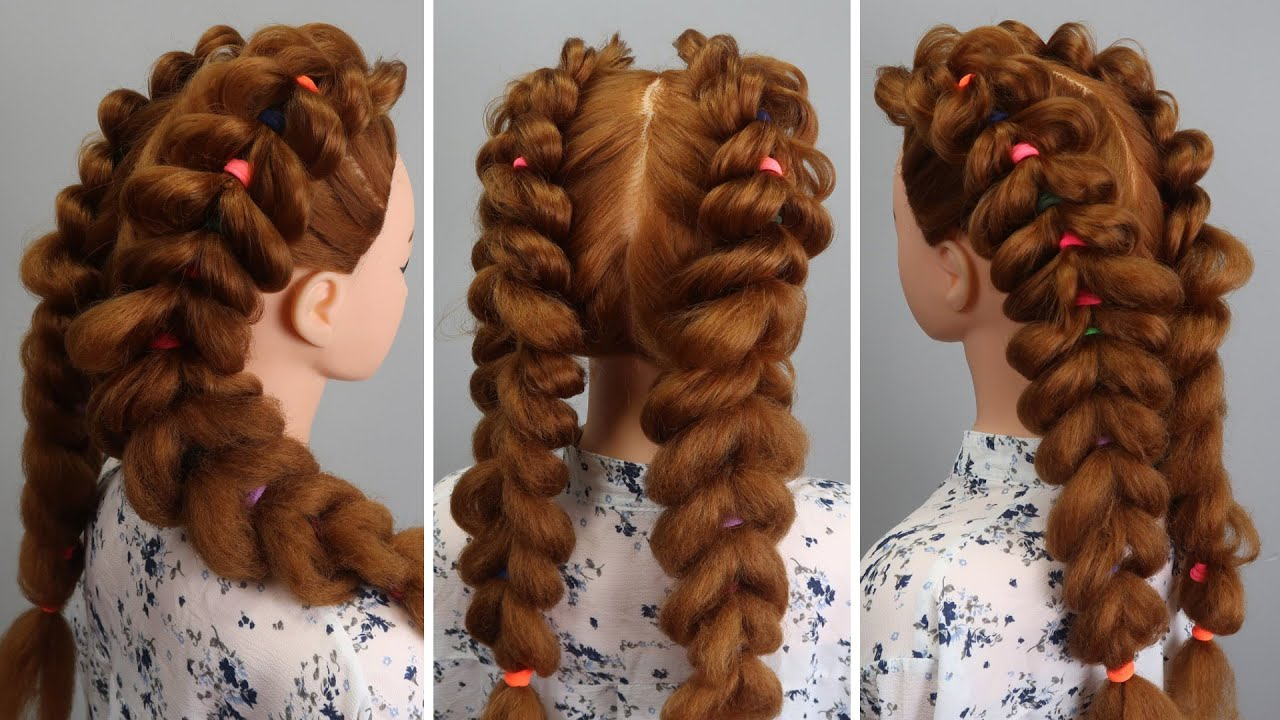 Easy Hairstyle For Girls With Colored Hair Bands! 👀 Braided Back To School HEATLESS Hairstyle