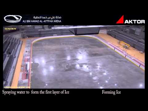 Sports court to ice rink transformation