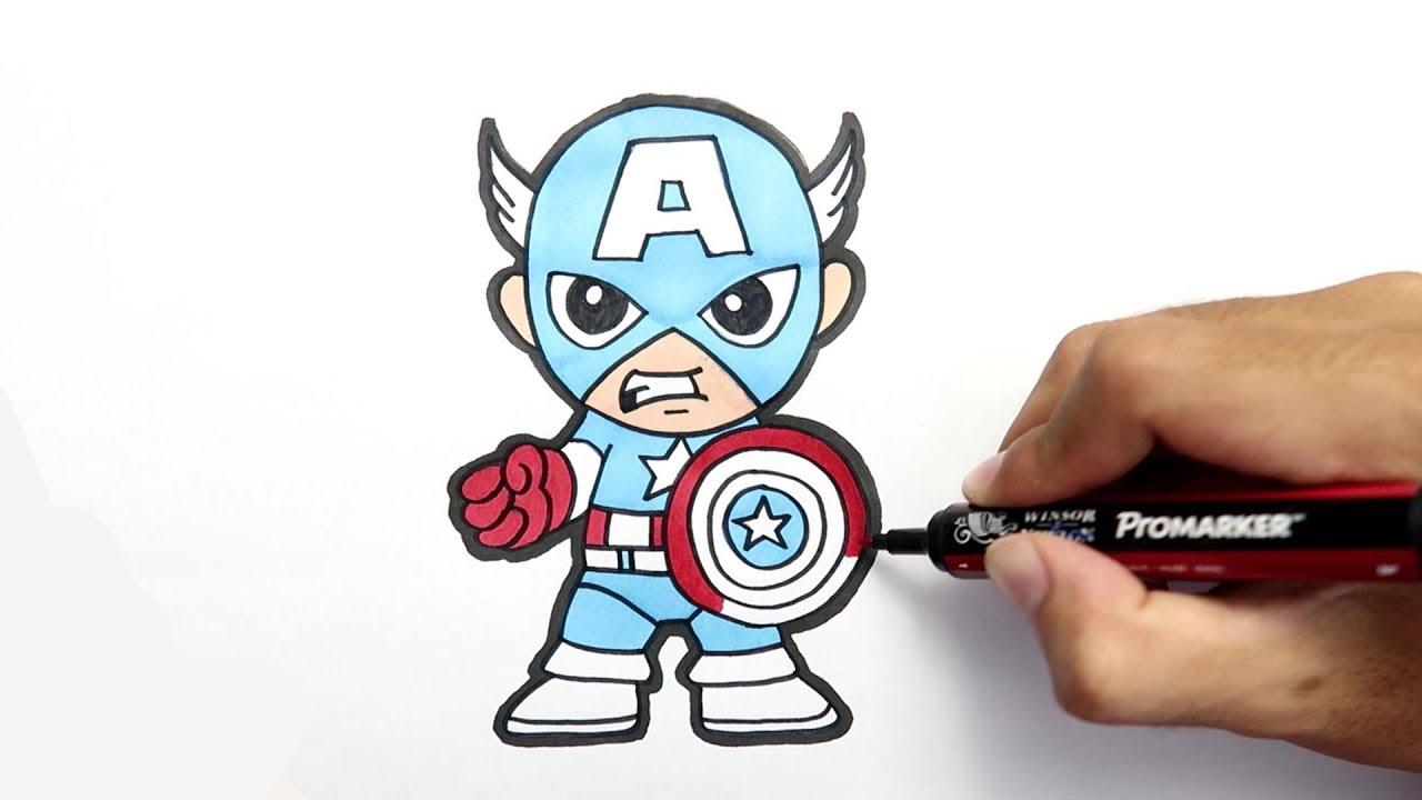 Cara Menggambar Dan Mewarnai Captain America Untuk Anak