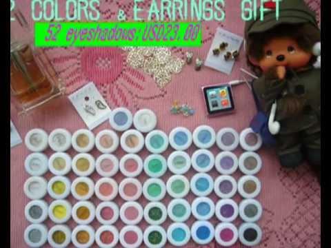 52colors LeiShi Shimmer Glitter Eyeshadows Makeup Mineral Pigment+earring gift-1.avi