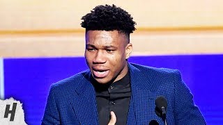Download Giannis Antetokounmpo EMOTIONAL SPEECH - Most Valuable Player Award - 2019 NBA Awards Mp3 and Videos