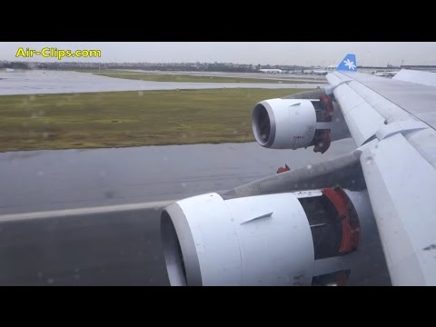 Air Tahiti Nui A340 severe storm landing into Sydney, GREAT wing views! [AirClips]