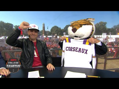 Lee Corso's headgear pick for LSU vs. Alabama with Justin Thomas   College GameDay