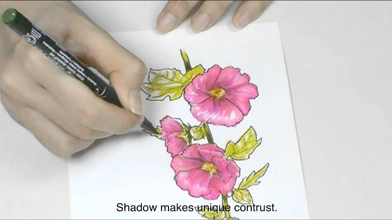 sakura - how to draw with pigma micron & koi coloring brush pen