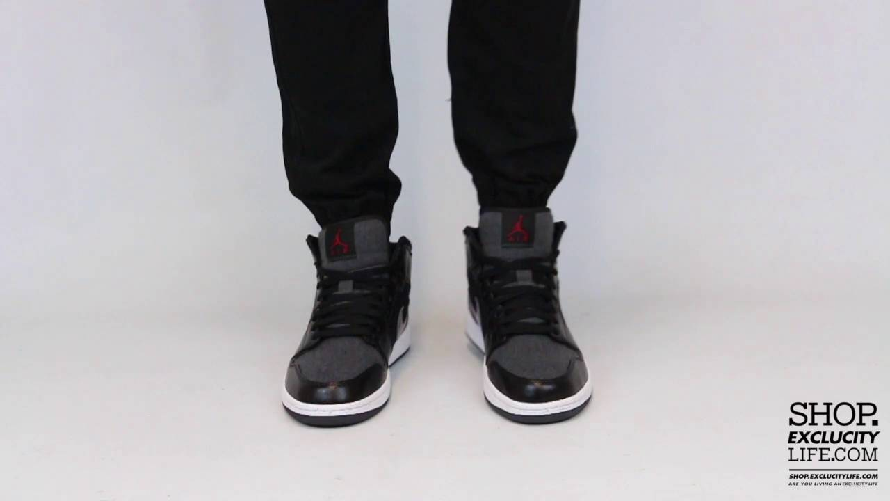 Air Jordan 1 Mid Premium Winter Black Anthracite On feet Video at Exclucity  - YouTube 9d18111b0