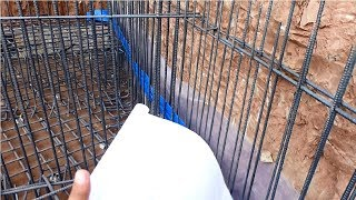RCC retaining wall construction according to drawing plan