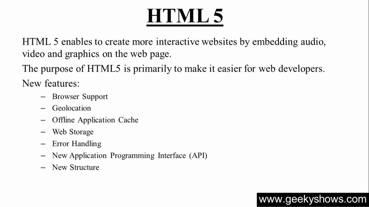 Features of html 5 hindi