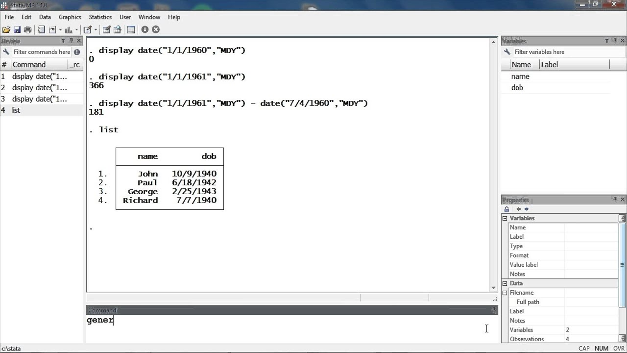 Stata Quick Tip: Date function