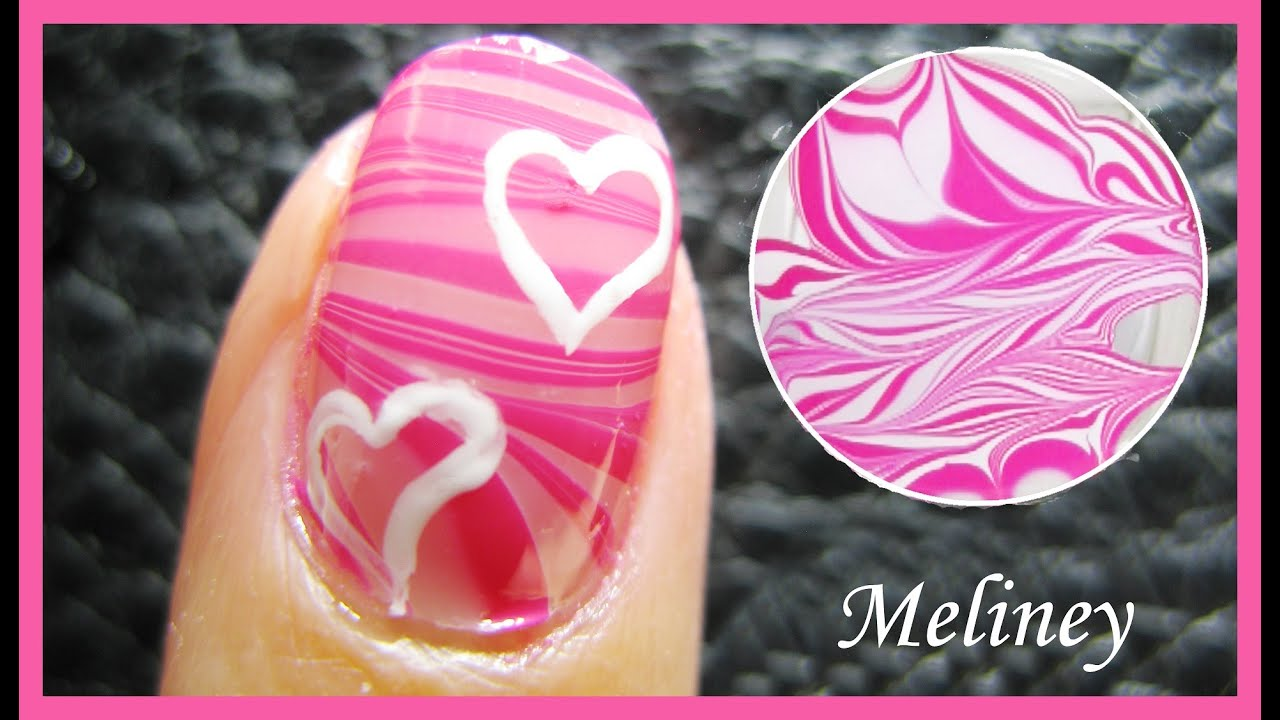 Water marble hearts valentines day pink nail art design tutorial water marble hearts valentines day pink nail art design tutorial water marbling youtube prinsesfo Gallery
