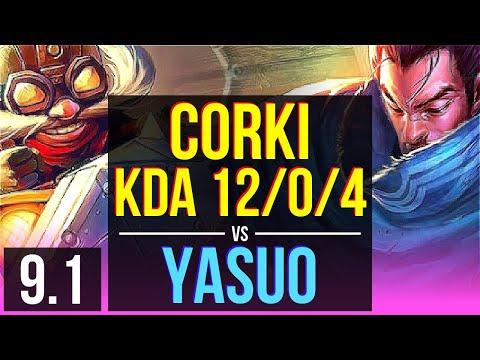CORKI vs YASUO (MID)   KDA 12/0/4, 2 early solo kills, Legendary   BR Diamond   v9.1