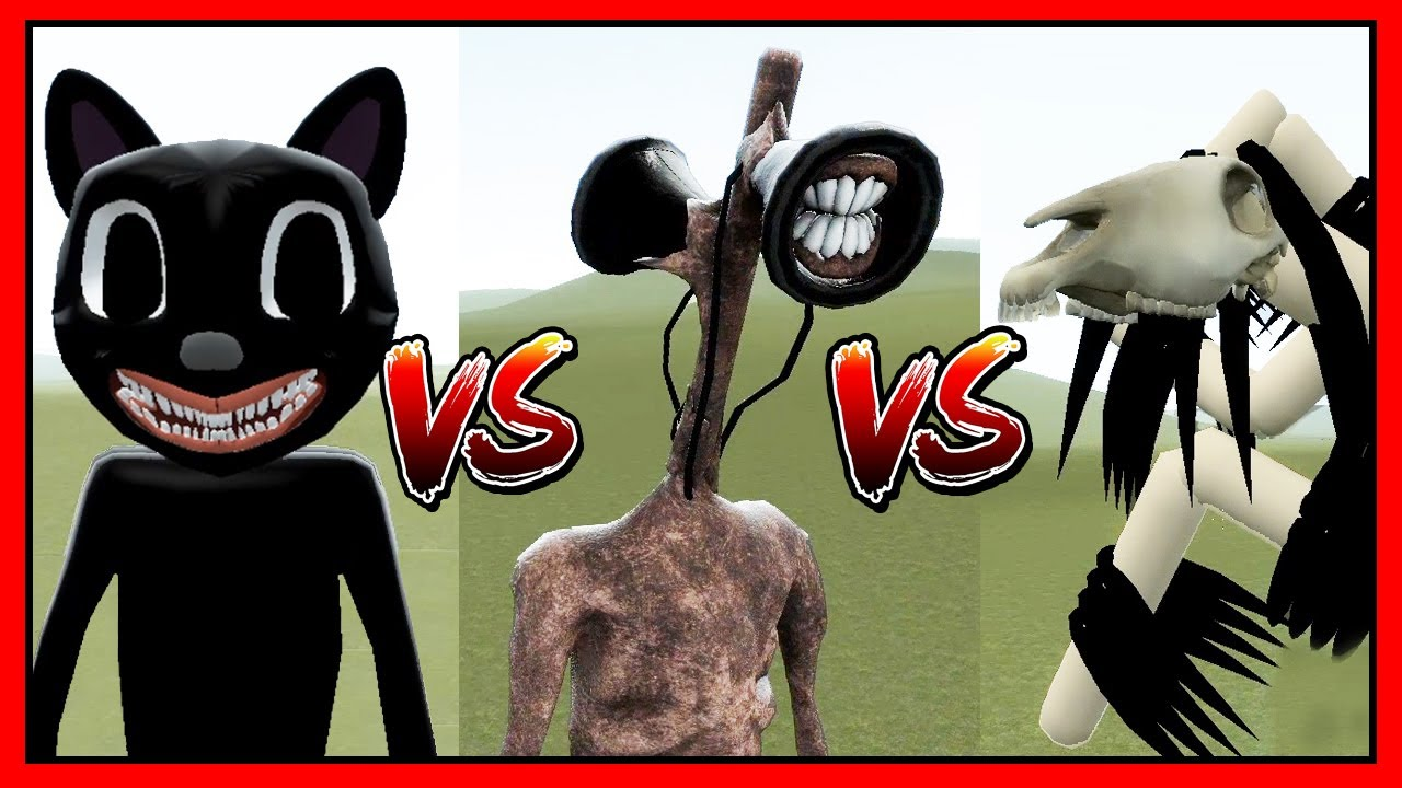 Batalla Siren Head Vs Cartoon Cat Vs Long Horse Quien Gana