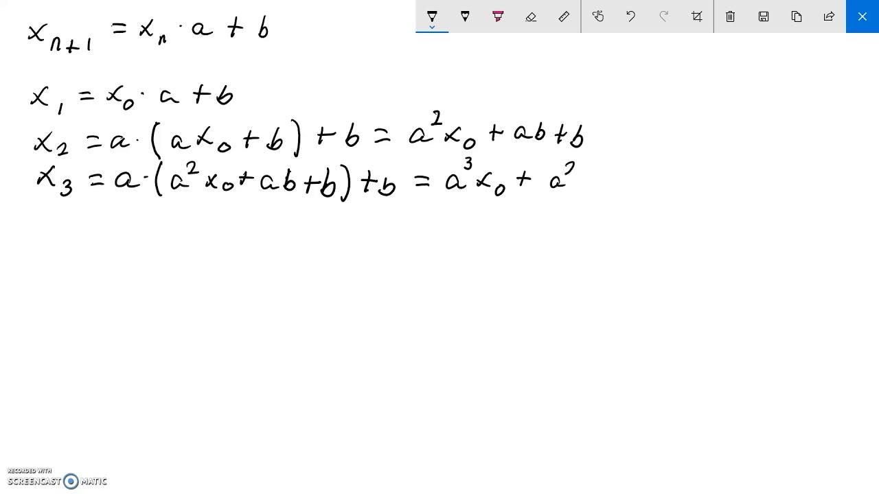Løsning af lineær rekursionsligning