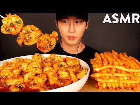 ASMR GARLIC SHRIMP & CAJUN FRIES MUKBANG (No Talking) EATING & COOKING SOUNDS | Zach Choi ASMR