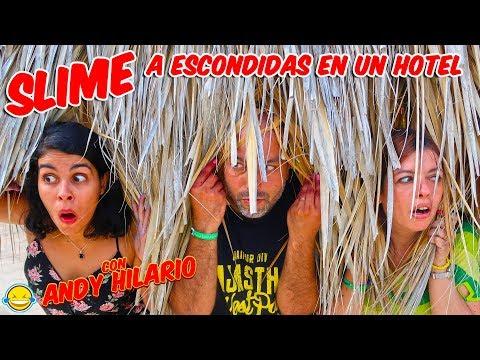 SLIME a ESCONDIDAS en un HOTEL con ANDY HILARIO !! Jordi y Bego!! Momentos Divertidos