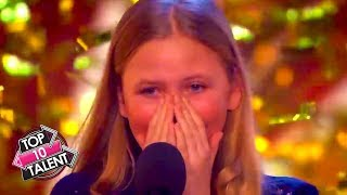 TOP TEN GOLDEN BUZZER KID SINGERS! Auditions From America's Got Talent & Britains Got Talent
