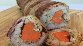 Stuffed Pork Tenderloin Recipe Wrapped In Bacon & Stuffed With Carrot A Valentines Day Recipe