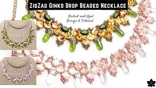 Zig Zag Ginko Drop Beaded Necklace Tutorial | Jewelry Making | Czech Glass Beadweaving Pattern