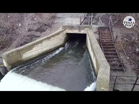 Нижняя плотина реки Сура в Пензе - работа в паводок