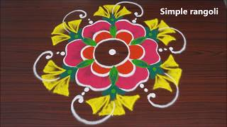 simple and new rangoli designs with 9x5 dots | kolam designs | muggulu for beginners