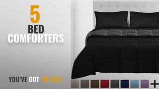 Top 10 Bed Comforters [2018]: 5-Piece Reversible Bed-In-A-Bag - Queen (Comforter: Black / Grey,