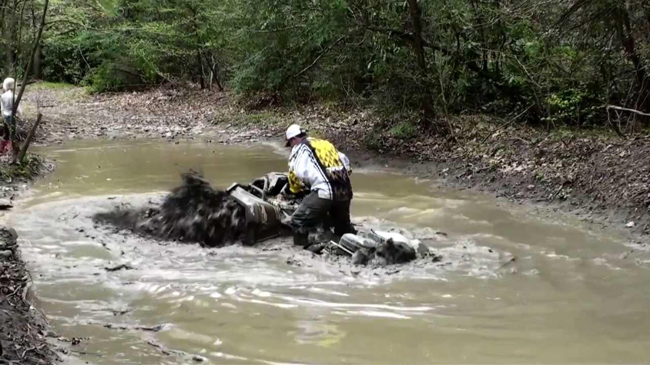 can am outlander xmr 1000 suzuki kingquad 700 deep mud hole youtube