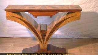 Art Deco Inlay Hall Table Console Tables