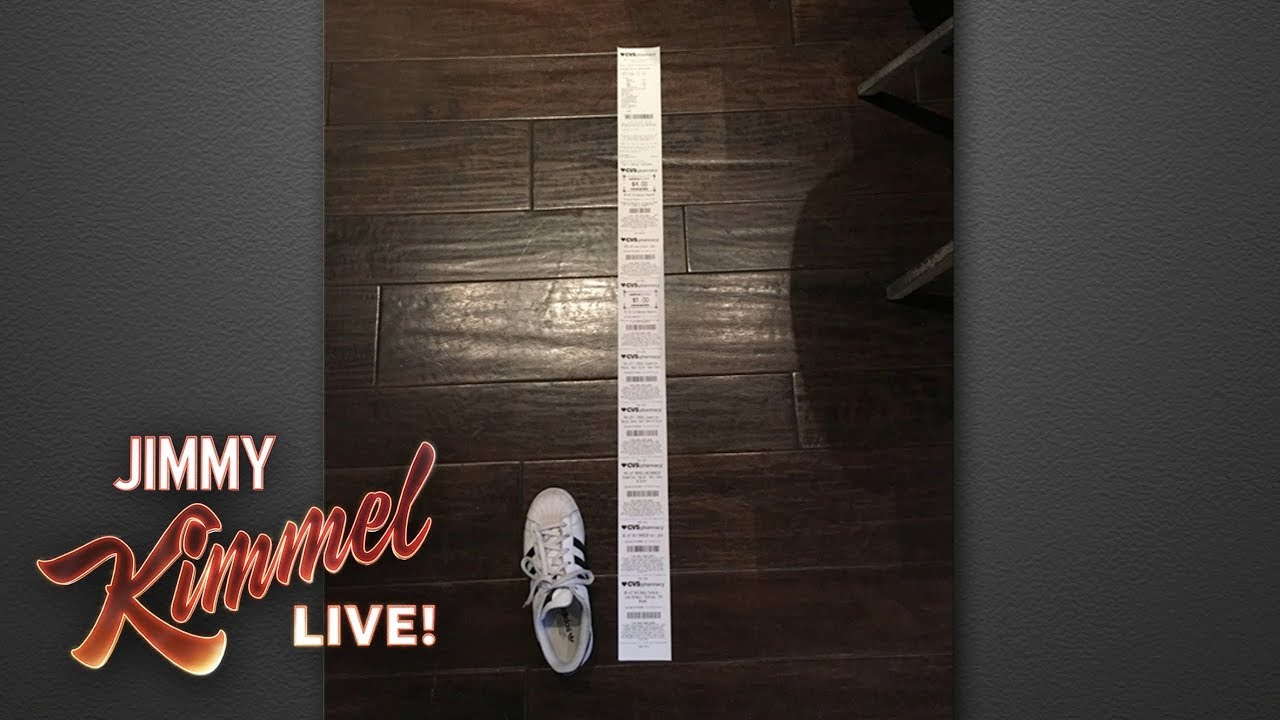 jimmy kimmel puts cvs on notice for long receipts youtube
