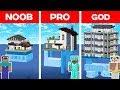Minecraft NOOB vs. PRO vs. GOD: MODERN HOUSE ON WATER BUILD CHALLENGE in Minecraft Animation