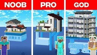 Minecraft NOOB vs. PRO vs. GOD: MODERN HOUSE ON WATER BUILD CHALLENGE in Minecraft (Animation)