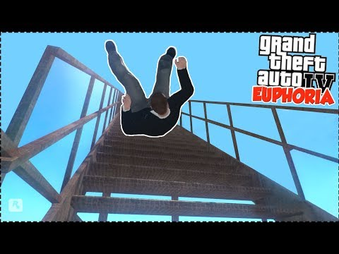 GTA 4 Realistic RAGDOLL - Euphoria FALLS from BIGGEST STAIRS