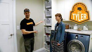 "DIY Laundry Basket Shelf | 6 Baskets in 18"" of Space!!"