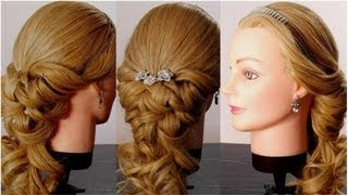 Wedding prom hairstyles for long hair. Romantic bridal hair tutorial