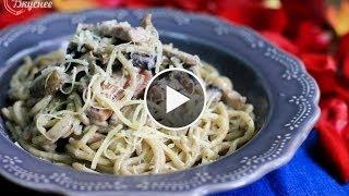 """Спагетти """"Последний звонок"""" с ветчиной и грибами в сливочном соусе."""